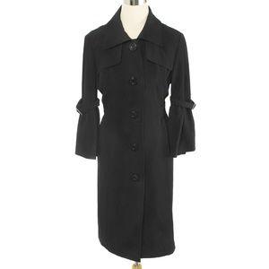 Lapis Black Retro 3/4 Bell Sleeve Trench Coat